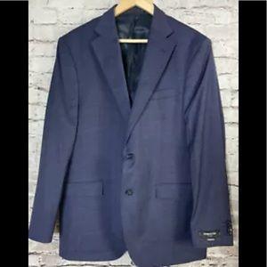 Kenneth Cole Mens Suit Jacket Coat Blue 44L